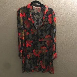 Zara Collared Button Up Patterned Dress